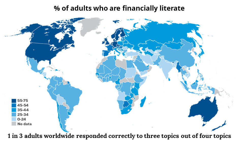 Financial literacy world map graphic