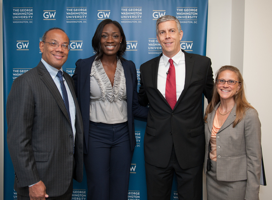 John Roges Jr, Rushia Brown, Arne Duncan, Kristen Burnell